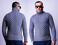 Теплый свитер мужской с высоким горлом объемная вязка (2 цвета)