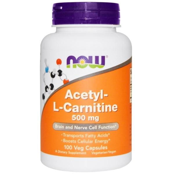 Now Foods, Ацетил-L-карнитин, 500 мг, 100 вегетарианских капсул