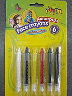 Краски аква грим в карандашах 6цв 7766