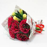 Букет из конфет Розы 9 бордово-бежевый Крафт