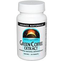 Source Naturals, Экстракт зелёного кофе, 500 мг, 30 таблеток