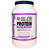 Bluebonnet Nutrition, На 100% натуральная белковая полочная сыворотка двойного действия + казеин, натуральный оригинальный вкус, 2,1 фунта (952 г)