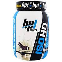 BPI Sports, ISO HD, 100%-ный изолят и гидролизат сывороточного белка, печенье и сливки, 1,6 фунта (740 г)