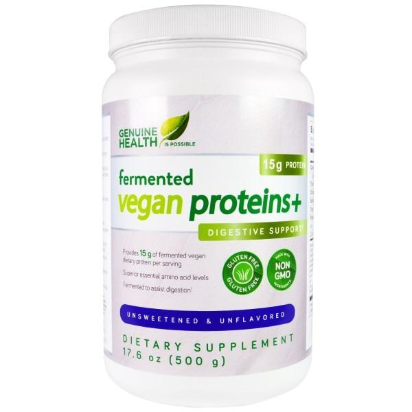 Genuine Health Corporation, Ферментированные веганские протеины +, поддержка пищеварения, неподслащенный и неароматизированный, 17.6 унции(500 г)