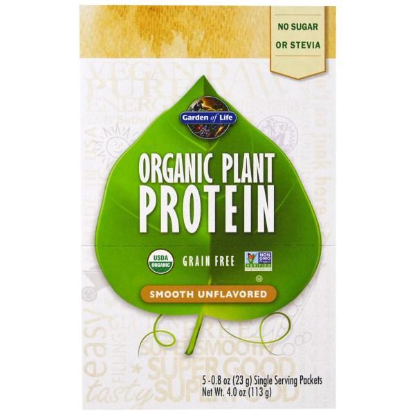 Garden of Life, Органический Растительный Белок, без Вкусовых Добавок, 5 пакетов, по 0,8 унции (23 г) каждый
