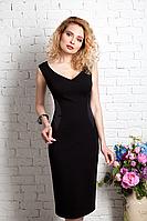 Классическое платье футляр с сатиновыми вставками 193
