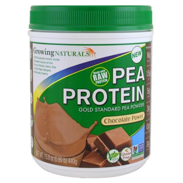 Growing Naturals, Гороховый белок, шоколадный порошок, 15,8 унций (449 г)