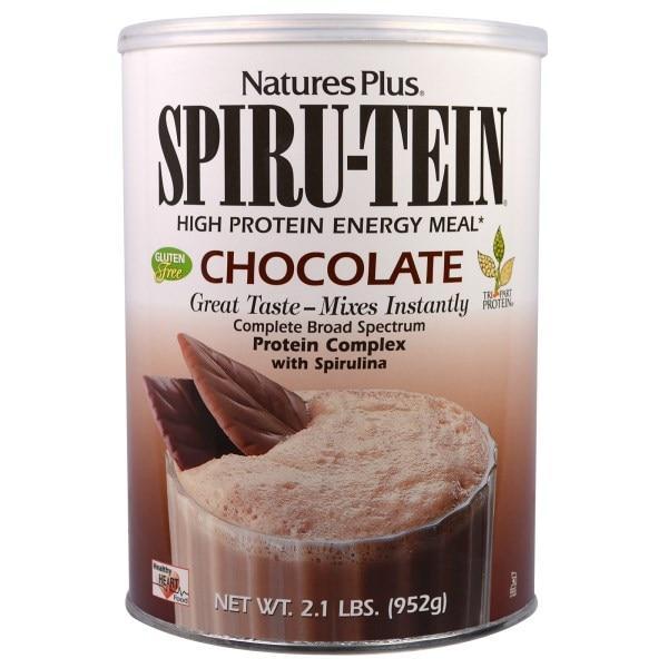 Natures Plus, Spiru-Tein, энергетическая еда с высоким содержанием белка, шоколадный вкус, 2.1 фунтов (952 г)
