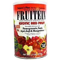 Natures Plus, Фрутеин, энергетический коктейль с высоким содержанием белка, экзотические красные фрукты, 1,3 фунта (576 г)