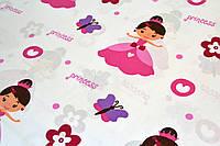 """Польская хлопковая ткань """"принцесса розовая на белом"""""""