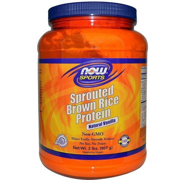 Now Foods, Sports, Протеины пророщенного неочищенного риса, натуральная ваниль, 2 фунта (907 г)