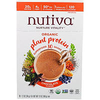 Nutiva, Organic Plant Protein, Chocolate Flavor, 10 Pacekts, 1.2 oz (34 g) Each
