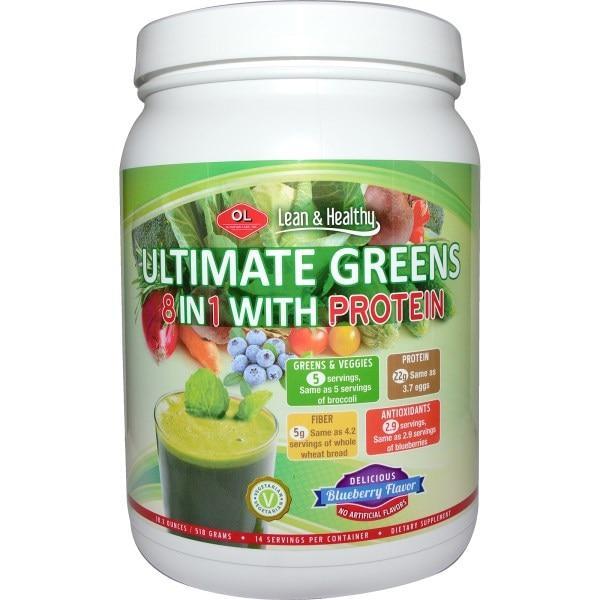 Olympian Labs Inc., Ultimate Greens 8 в 1 с протеином, с отличным черничным вкусом, 18.3 унций (518 г)