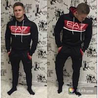 Мужской спортивный костюм Emporio Armani black-red