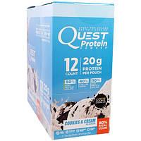 Quest Nutrition, Протеиновый порошок, с ароматом печенья и сливок, 12 пакетиков, 1,13 унц. (32 г.) каждый