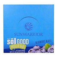 Sunwarrior, Хорошие Белковые батончики с Органической Солью, Взрыв Голубики, 12 батончиков, 2,19 унции каждый