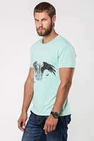 Однотонная мужская футболка с вырезом и стильной накаткой. Цвет мята