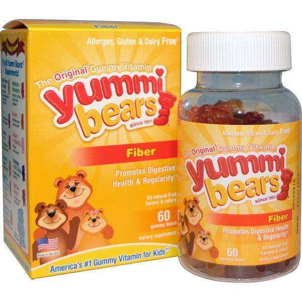Hero Nutritional Products, Yummi Bears, клітковина, зі смаками натуральних фруктів, 60 жувальних ведмедиків