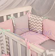 Комплект детского постельного белья Baby Design серо-розовые зигзаги 6пр
