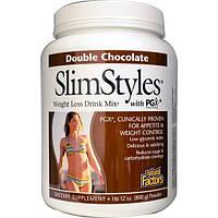 Natural Factors, СтильСтройности, смесь для приготовления напитка для похудения, содержит PGX (полигликоплекс), двойная порция какао, порошок, 1 фунт