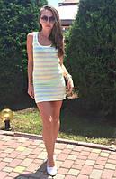 Полосатая легкая пляжная туника платье для отдыха