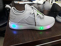 Светящиеся кроссовки,сетка серая