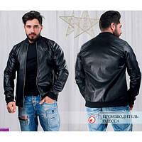 Мужская куртка из эко-кожи в черном цвете