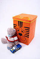 """Ящик - корзина для хранения игрушек с крышкой """"Тигр"""" (35*35*55)"""