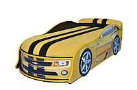 Кроватка- машина с матрасом Камаро, желтая