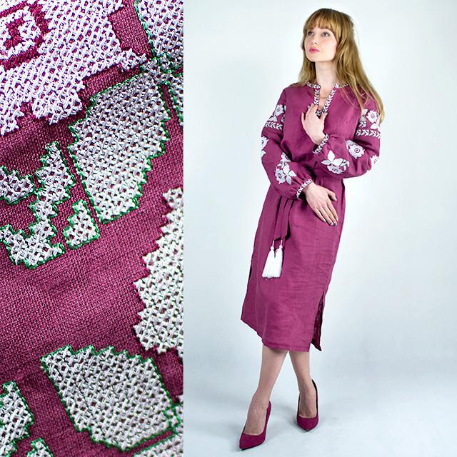 Платье вышиванка в украинском стиле Красочные цветы малиновое