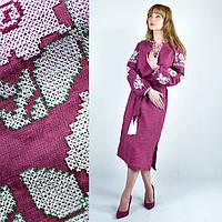 Платье вышиванка в украинском стиле Красочные цветы малиновое, фото 1