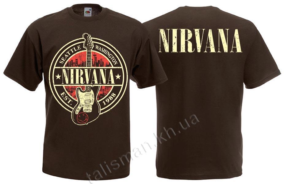 Футболка NIRVANA (лого с гитарой) коричневая