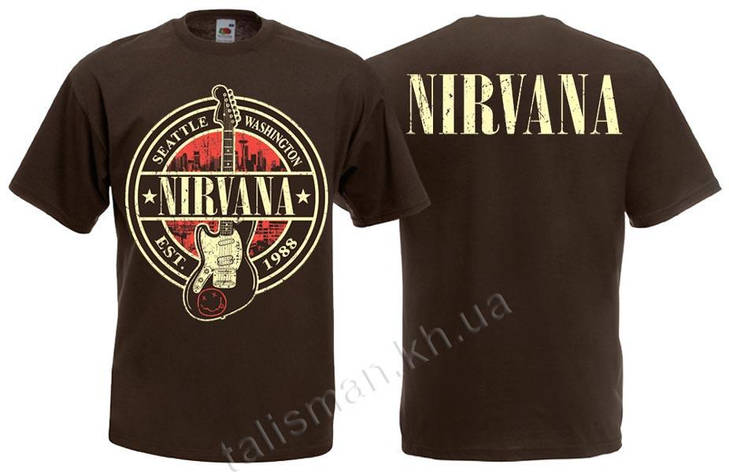 Футболка NIRVANA (лого с гитарой) коричневая, фото 2