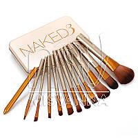 Набор кистей для макияжа  Naked 3, 12 шт. в металлическом футляре
