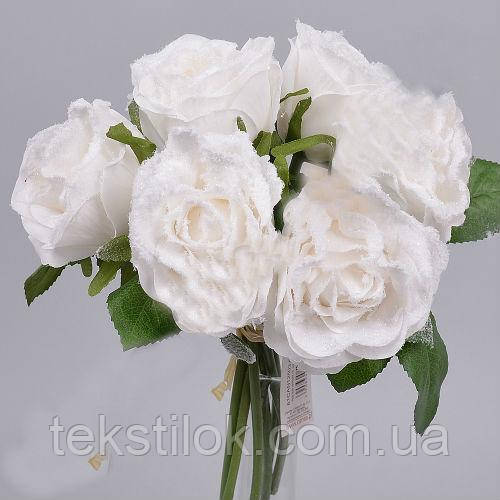Букет белых заснеженных роз  25см Цветы искусственные