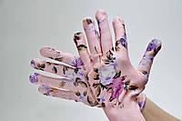 Перчатки синтетические тонкие цветочки с ПВХ Точкой