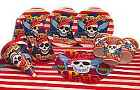 """Набор для детского Дня Рождения """" Пираты"""" Тарелки -10 шт. Стаканчики - 10 шт. Колпачки - 10 шт. ,скатерт"""