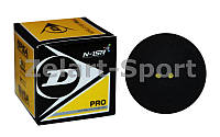 Мяч для сквоша DUNLOP (1шт) 700108 REVELATION PRO DOUBLE DOT (резина, черный)