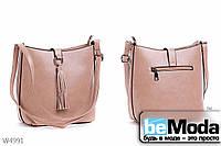 Оригинальная женская сумка Kiss Me Khaki из экокожи с декоративной кисточкой на застежке хаки