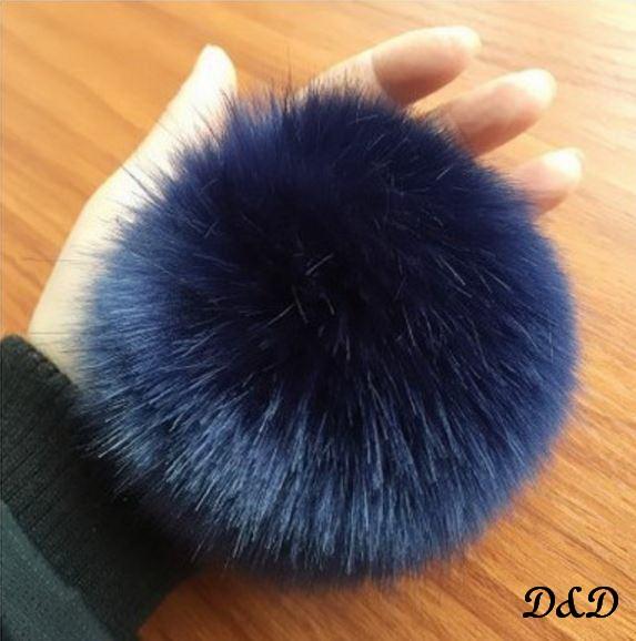 Брелок помпон искусственный мех темно-синий