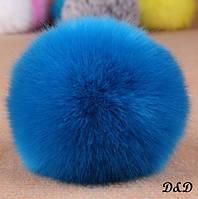 Брелок помпон искусственный мех синий