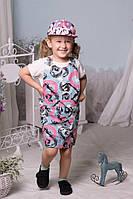 Джинсовый сарафан с рисунком, регулируемые лямки под рост ребенка. ткань джинс 2 цвета евлад№2181