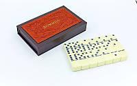 Домино настольная игра в PU коробке 5010F-2 (кости-пластик, h-4,9см, р-р кор.19,5x12,5x3,5с, коричн)