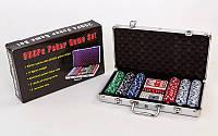 Набор для покера в алюминиевом кейсе IG-2114 на 300 фишек с номиналом (2 кол.карт,5куб)