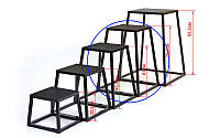 Бокс плиометрический (1шт) QT1005-4 PLYOMETRIC BOXES (металл,h-76,2см,верх 40,6х40,6см, осн.58х58см)