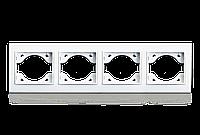 Рамка четырехместная для розеток и выключателей ERSTE THEME 9209-84 белая