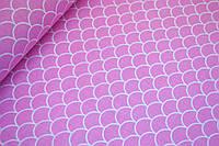 """Польская хлопковая ткань  """"чешуя на розовом"""""""