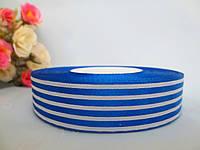 "Атласная лента 2,5 см, ""Полоски"", цвет бело-синий"
