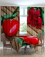 """Комплект на кухню """"Красные розы и сердце"""""""
