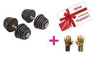 Гантели разборные (2шт) обрез 40кг A-TA-0031-40R+ подарок (Перчатки атлетические VL-3224-L)